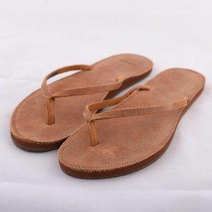 Sanuk Brown Leather Flip Flops